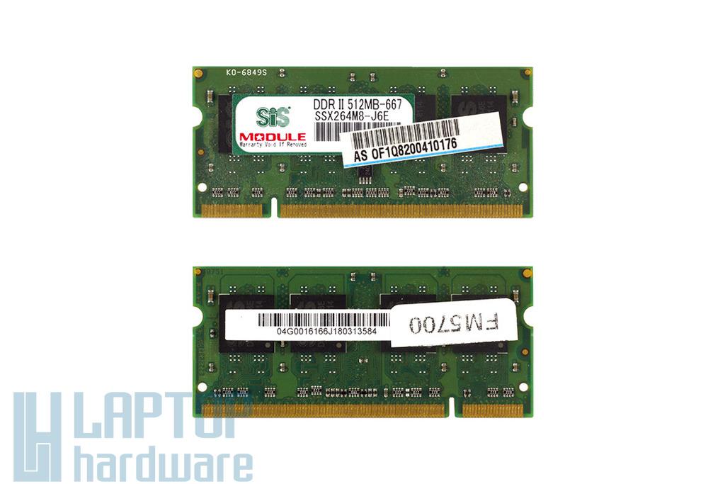 SIS 512MB DDR2 667MHz használt memória Asus laptopokhoz
