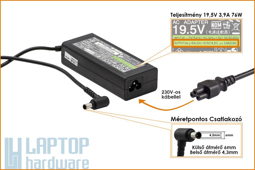Sony 19.5V 3.9A 76W gyári új laptop töltő (VGP-AC19V37)