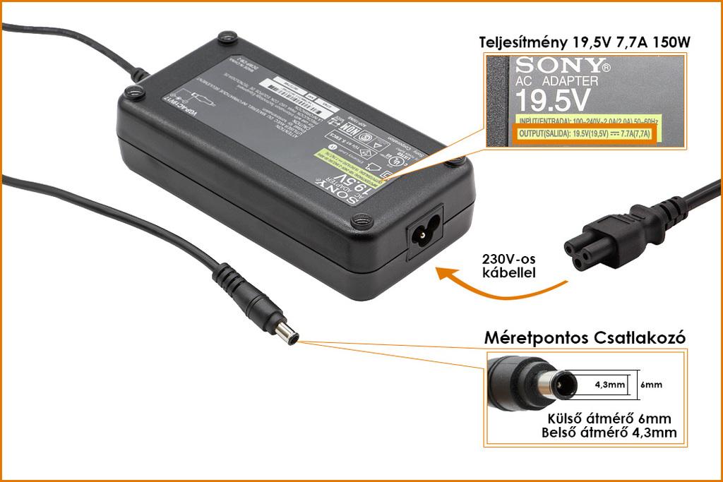 Sony PCGA-AC19V9 19.5V 7.7A ,150W gyári új laptop töltő, (PCGA-AC19V9)