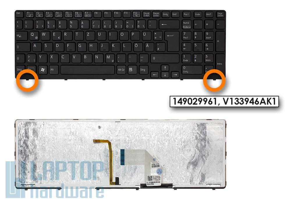 Sony Vaio SVE15, SVE17 gyári új fekete német háttér-világításos laptop billentyűzet (1.8cm verzió, Win7) (149029961, V133946AK1)