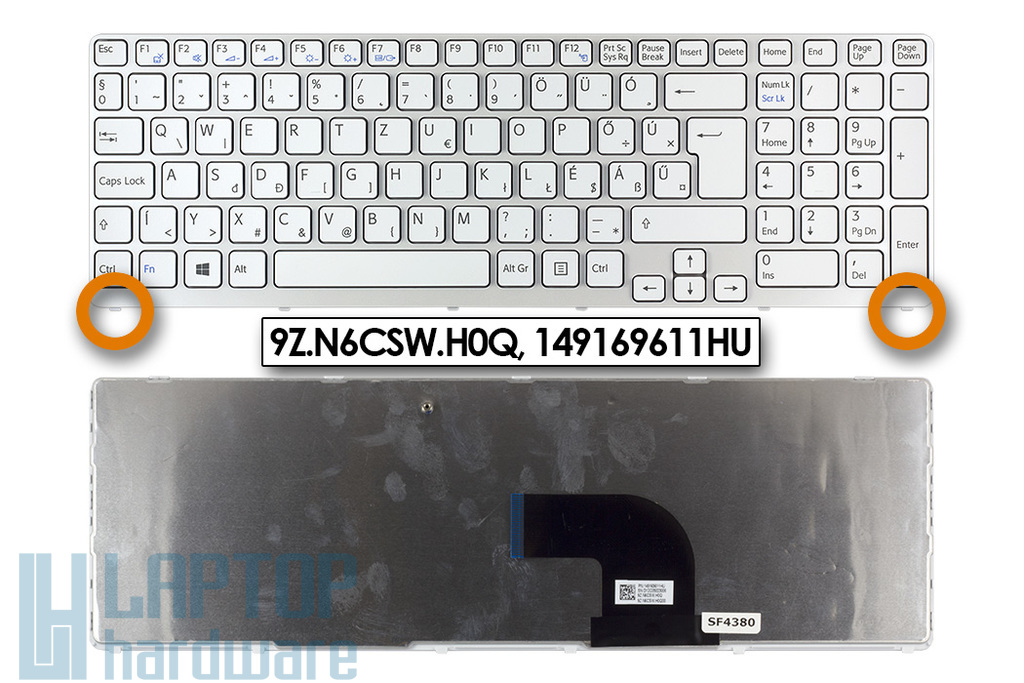 Sony Vaio SVE15, SVE17 gyári új fehér magyar laptop billentyűzet (0.8 cm verzió, Win8) (9Z.N6CSW.H0Q, 149169611HU)