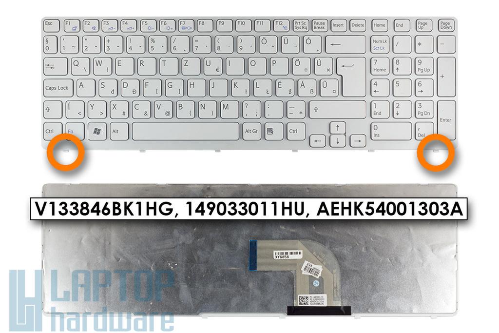Sony Vaio SVE15, SVE17 gyári új fehér magyar laptop billentyűzet (1.8cm verzió, Win7) (149033011HU)