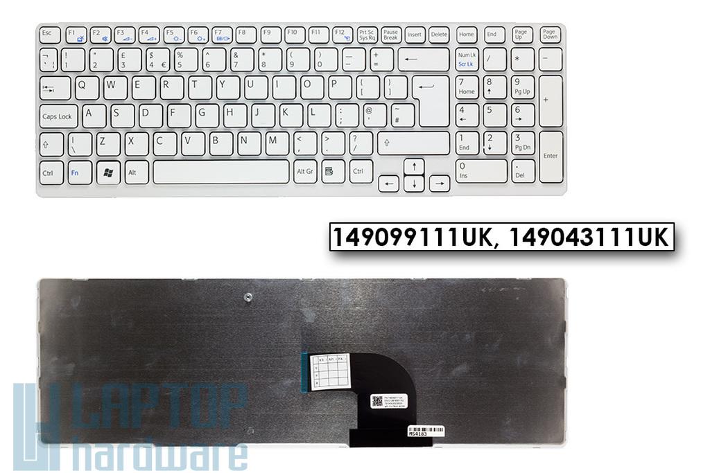 Sony Vaio SVE15, SVE17 gyári új fehér UK angol laptop billentyűzet (1.8cm verzió, Win7) (149099111UK, 149043111UK)