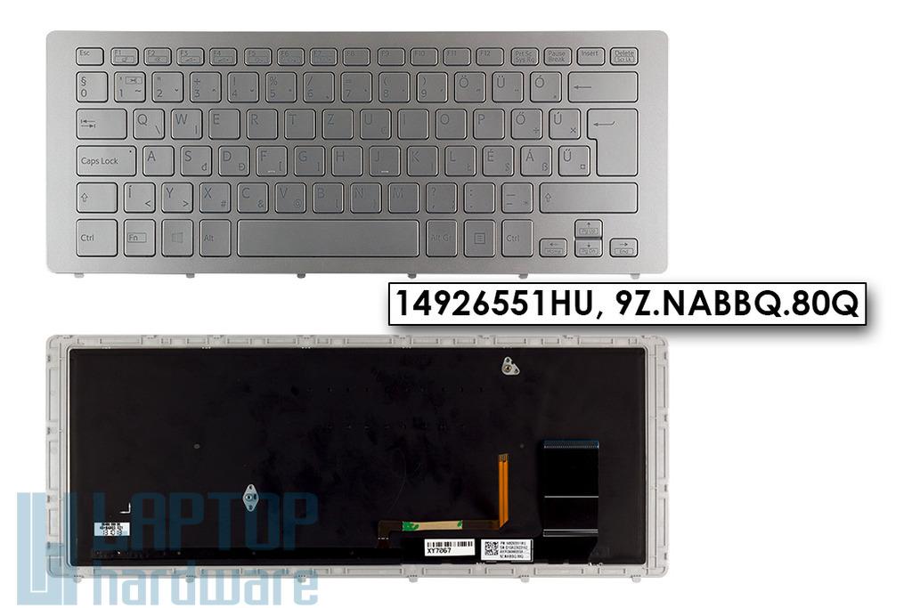 Sony Vaio Multi-Flip SVF15A, Multi-Flip SVF15N gyári új magyar háttér-világításos ezüst laptop billentyűzet (14926551HU)