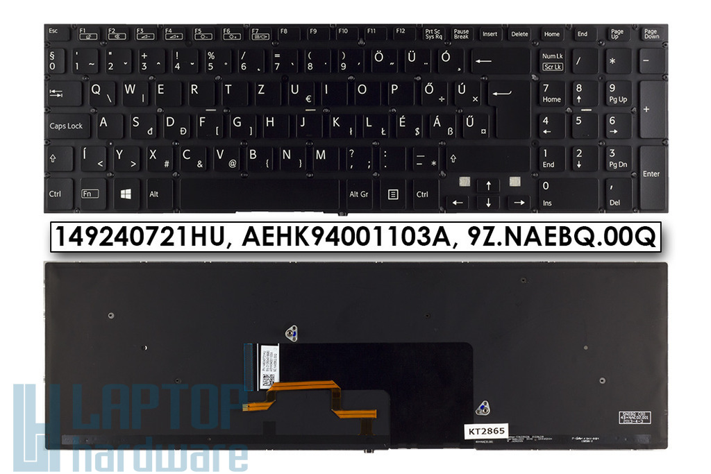 Sony VAIO SVF15, SVF15A, SVF15E sorozatú laptopokhoz gyári új magyar háttér-világításos fekete billentyűzet (149240721HU)
