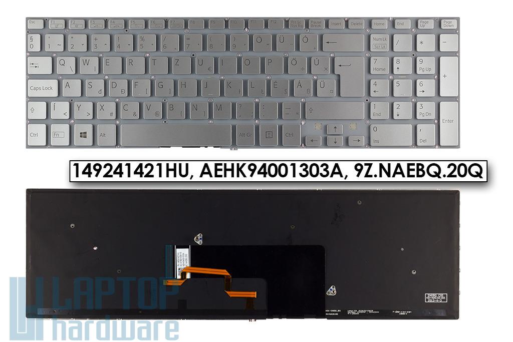 Sony Vaio SVF15, SVF15A, SVF15E sorozatú laptopokhoz gyári új magyar háttér-világításos ezüst billentyűzet (149241421HU)