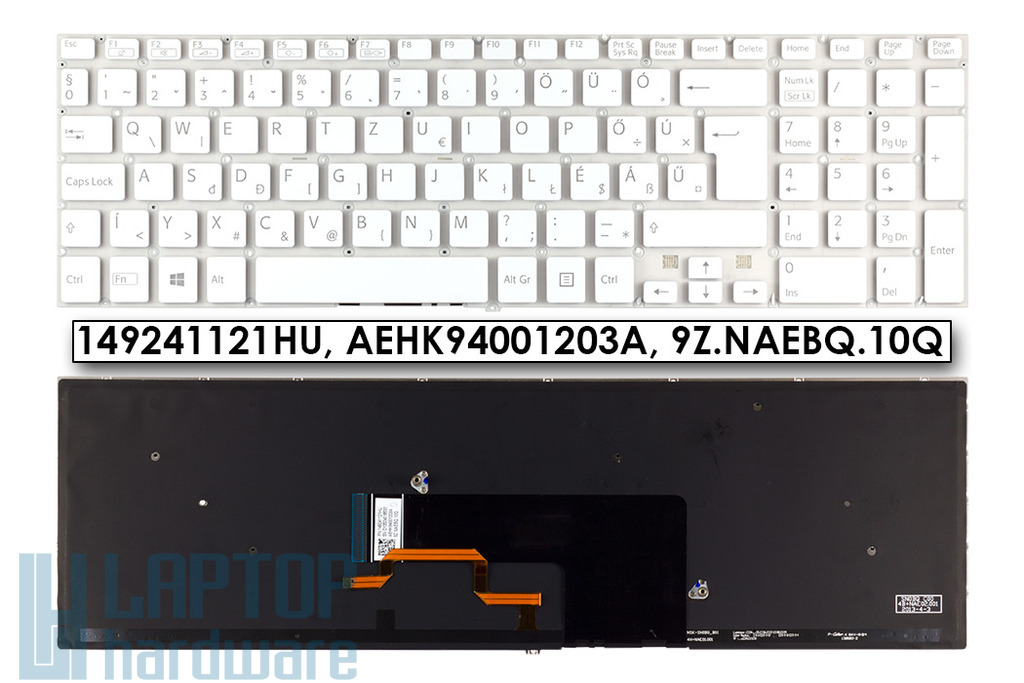 Sony Vaio SVF15, SVF15A, SVF15E sorozatú laptopokhoz gyári új magyar háttér-világításos fehér billentyűzet (149241121HU)