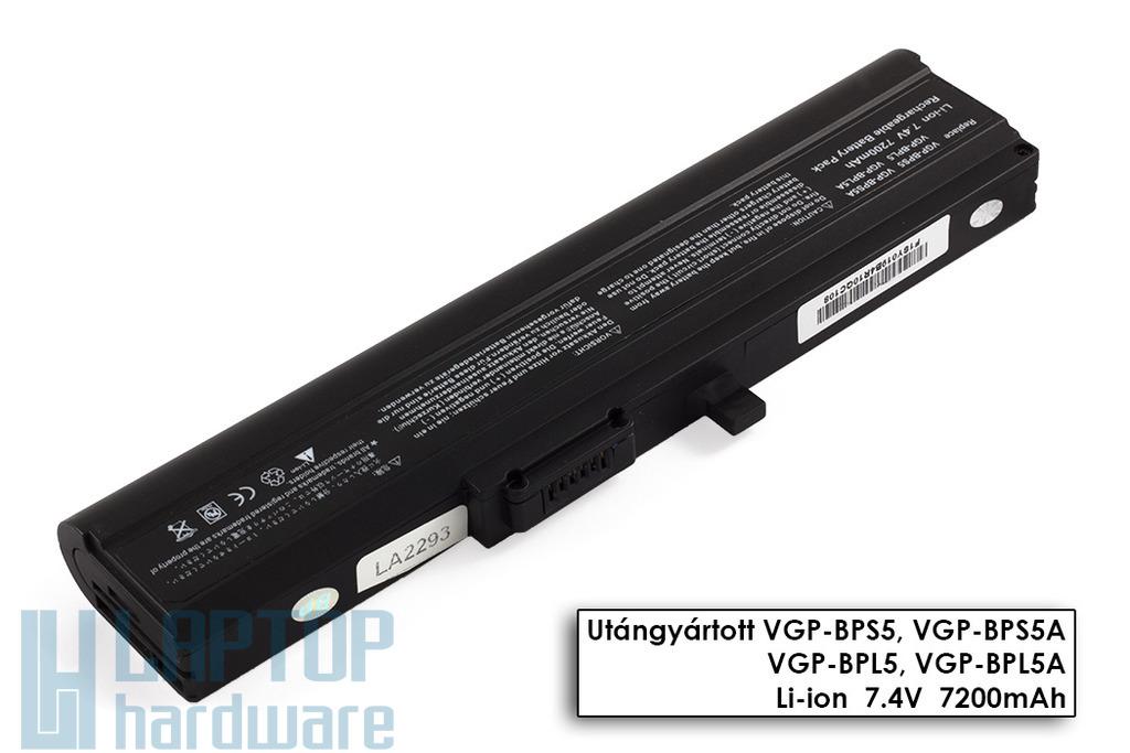 Sony Vaio VGN-TX helyettesítő új 6 cellás fekete laptop akku/akkumulátor (VGP-BPS5)