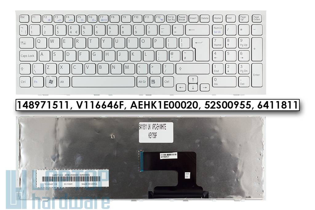Sony Vaio VPC-EH gyári új fehér UK angol laptop billentyűzet (148971511)