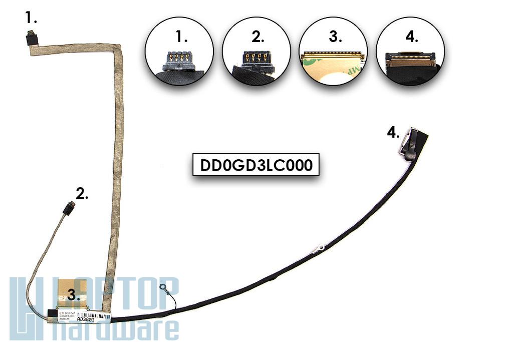 Sony Vaio VPC-S11, VPC-S12, VPC-S13 sorozatú laptopokhoz gyári új LCD kijelző kábel (DD0GD3LC000)