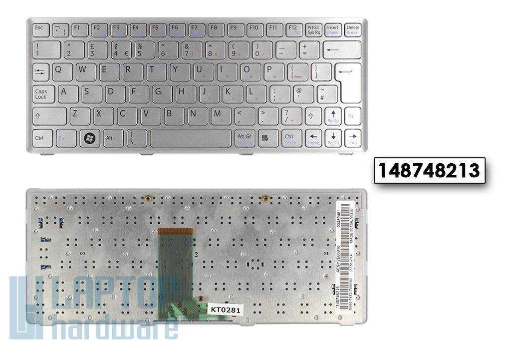SONY VAIO VPC-W21M1E, PCG-21212M gyári új ezüst UK angol laptop billentyűzet (148748213)