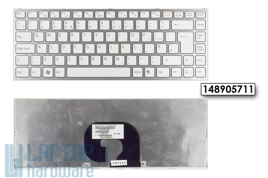 Sony Vaio VPC-Y, VPC- Y11, VPC-Y21 gyári új ezüst keretes fehér UK angol billentyűzet, 148905711