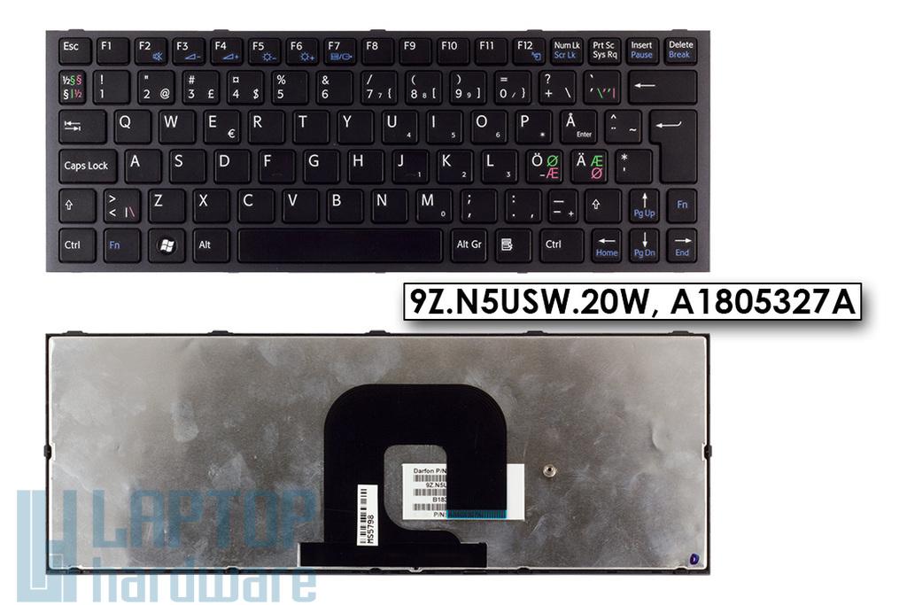 Sony Vaio VPC-YA1V9E-B, VPC-YA1C5E gyári új norvég fekete laptop billentyűzet (9Z.N5USW.20W, A1805327A)