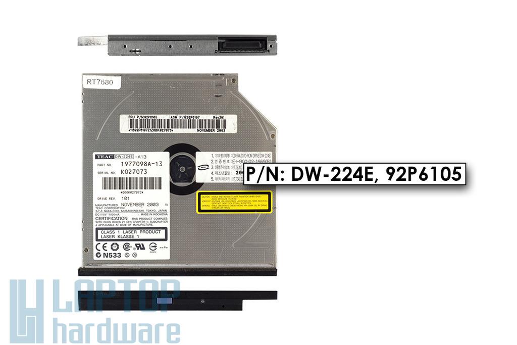 Teac DW-224E használt IDE CD-RW, DVD-ROM combo meghajtó IBM Lenovo ThinkPad G40, R40 laptophoz (92P6105)