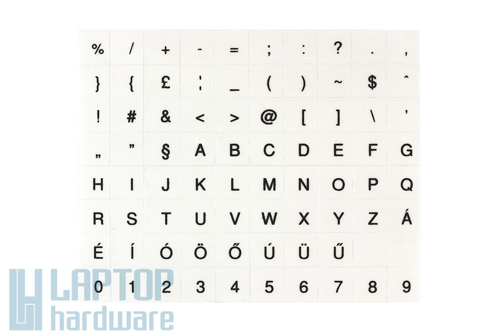 Átlátszó alapon fekete magyar betűkkel, laptop billentyűzet matrica