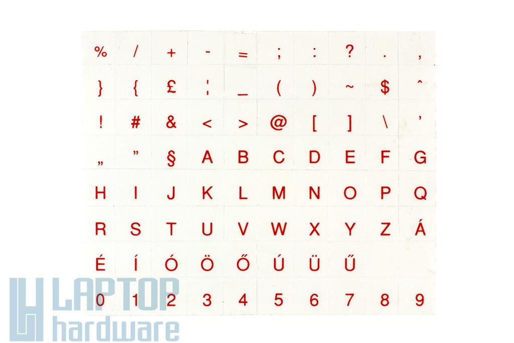 Átlátszó alapon piros magyar betűkkel, laptop billentyűzet matrica