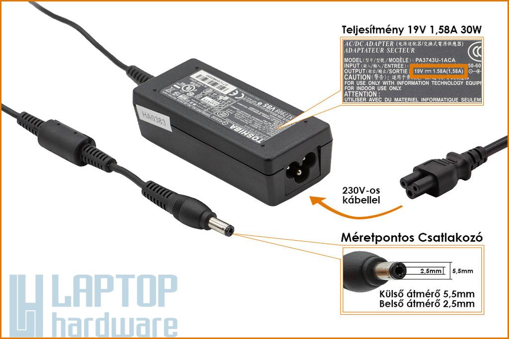 Toshiba 19V 1.58A 30W gyári új netbook töltő (PA3743U-1ACA, PA3743E-1AC3)