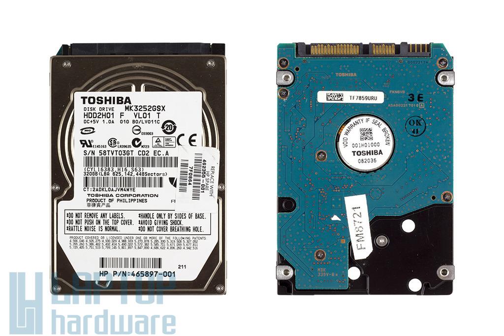 Toshiba 320GB 5400RPM 8MB cache SATA gyári használt laptop winchester (MK3252GSX)