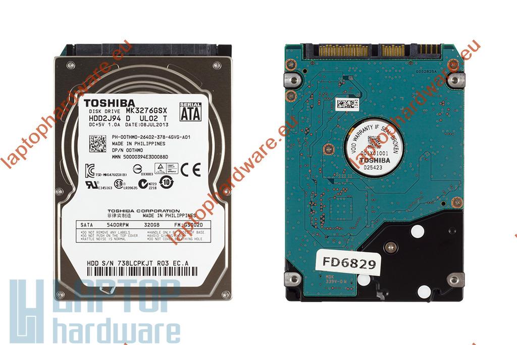 Toshiba 320GB 5400RPM 8MB cache SATA használt laptop winchester (MK3276GSX)
