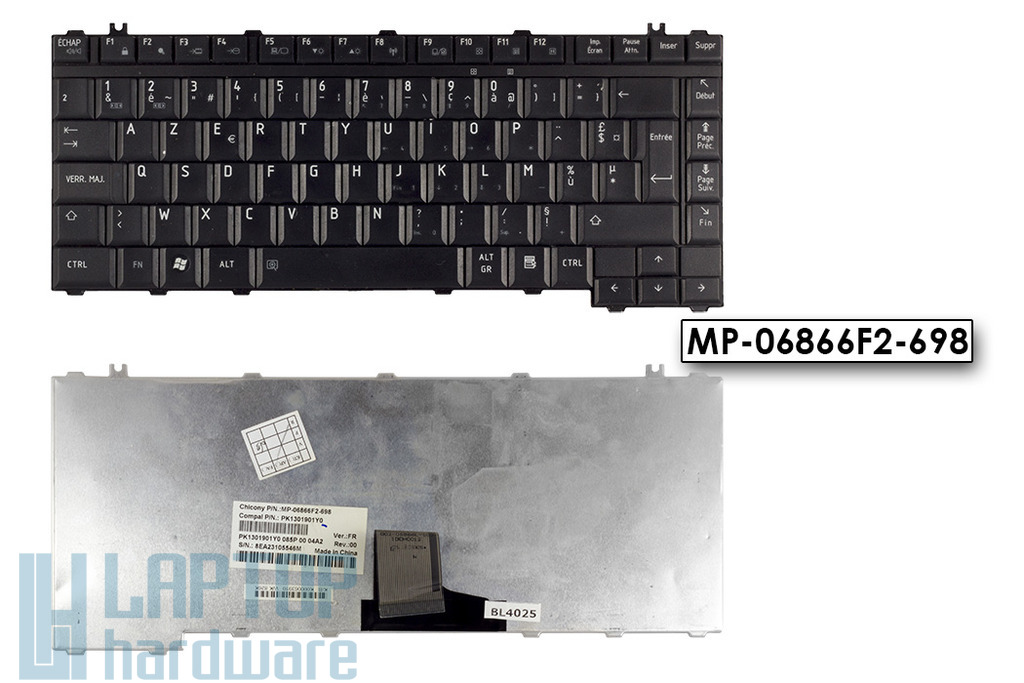 Toshiba A200, L300, M200 használt francia fekete laptop billentyűzet (MP-06866F2-698)