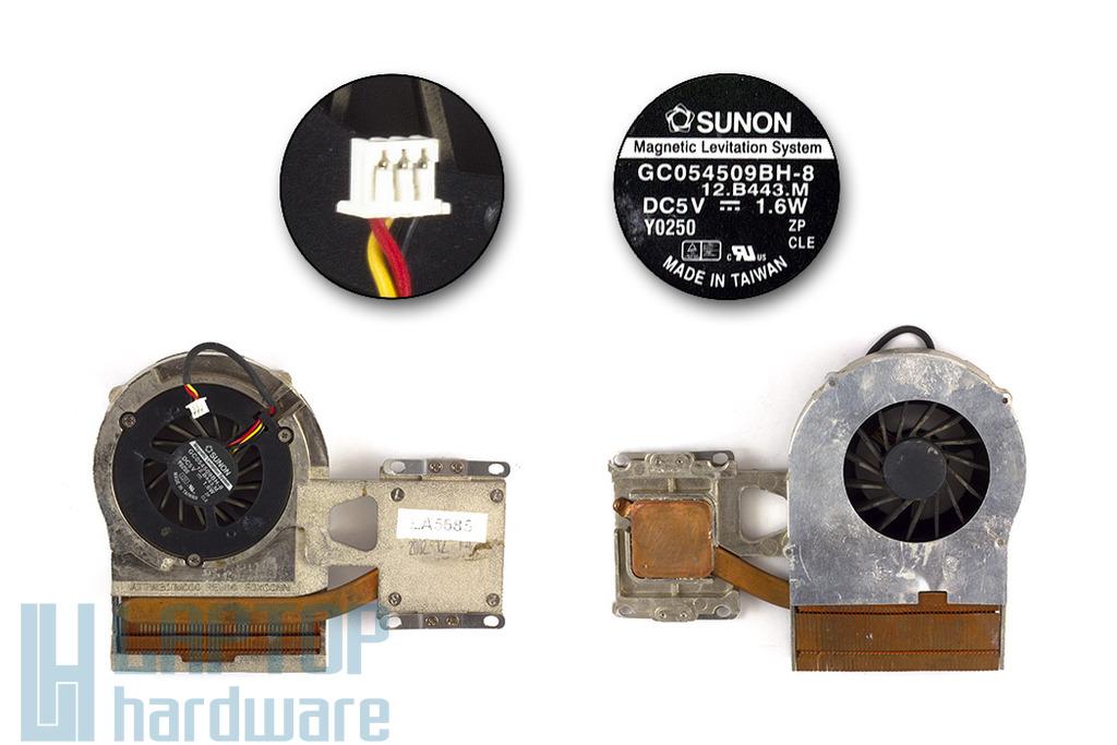 Toshiba Dynabook E8, Satellite 1130, 1135 használt komplett laptop hűtő ventilátor egység (ATTW301M000, GC054509BH-8)