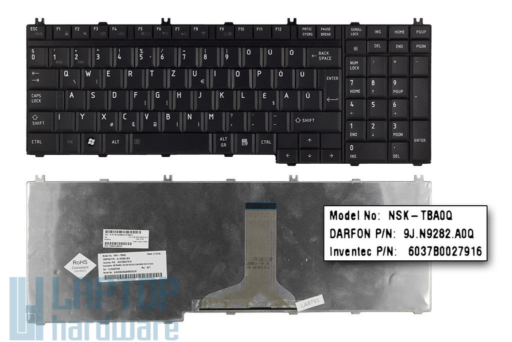 Toshiba L350, L500, P300, X200 gyári új magyar matt fekete laptop billentyűzet (V000140650)