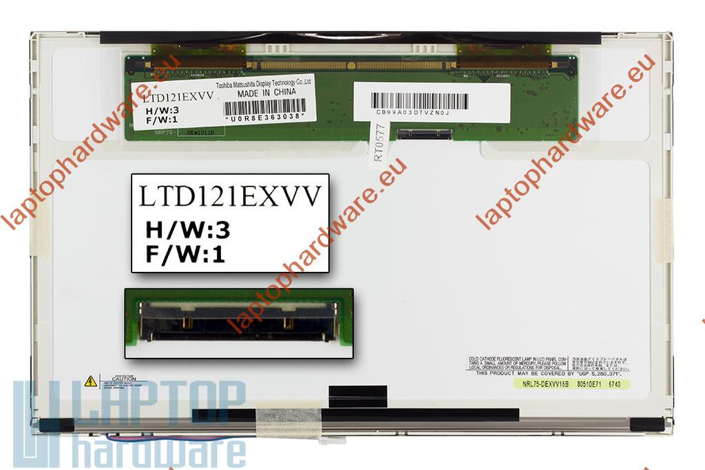 Toshiba LTD121EXVV (12,1 inch) WXGA 1280x800 használt fényes laptop kijelző