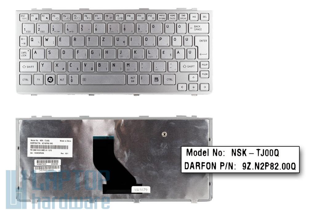 Toshiba Mini NB205, NB305, NB505 gyári új magyar ezüst laptop billentyűzet (NSK-TJ00Q)