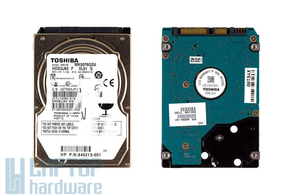 Toshiba MK5076GSX 500GB SATA2 használt laptop winchester