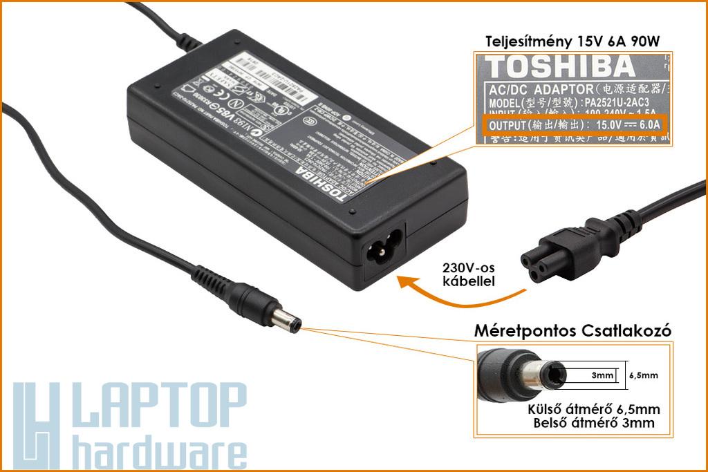 Toshiba PA2521U-1ACA 15V 6A 90W gyári új laptop töltő (ADP-60RHA, PA-1750-07)