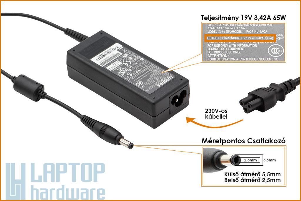 Toshiba PA3467E-1AC3 19V 3.42A 65W gyári új laptop töltő (PA3467E-1AC3)