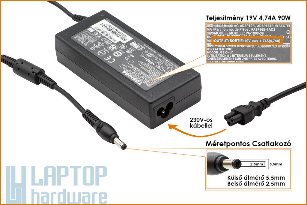 Toshiba PA3516U-1ACA 19V 4.74A 90W gyári új laptop töltő (PA3516U-1ACA)