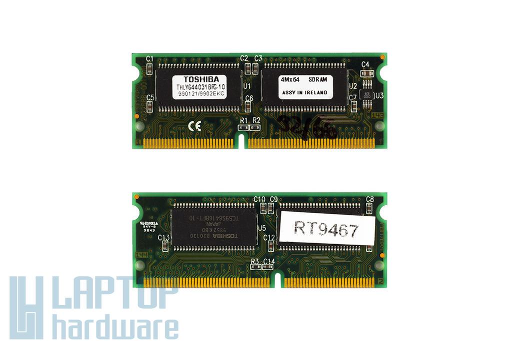 Toshiba PC66 66MHz 32MB SODIMM használt laptop SDRAM (THLY644031BFG-10)