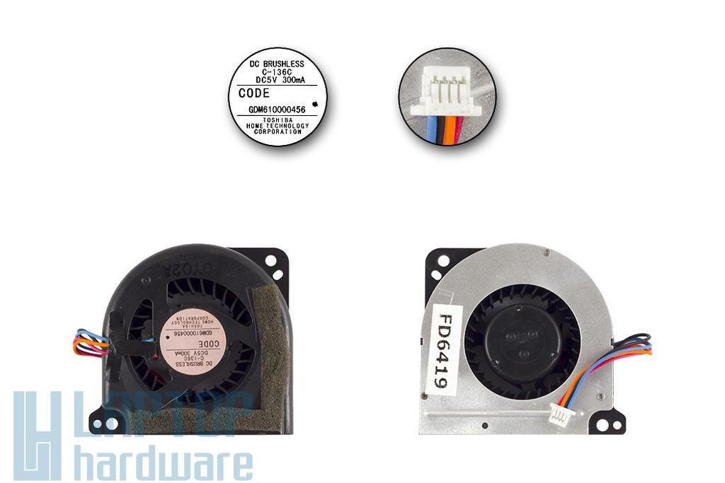 Toshiba Portege R700, R705, R830, R835 gyári új laptop hűtő ventilátor (GDM610000456, P000532050)