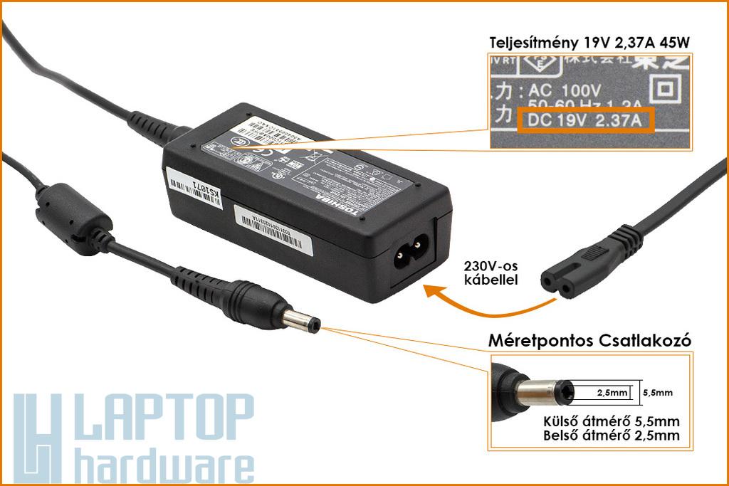 Toshiba Portege Z830, Satellite T230 19V 2.37A 45W gyári új laptop töltő (PA3822U-1ACA)