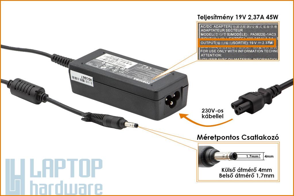 Toshiba Portege Z930, Satellite U840, U940 19V 2.37A 45W gyári új laptop töltő (PA3822E-1AC3)