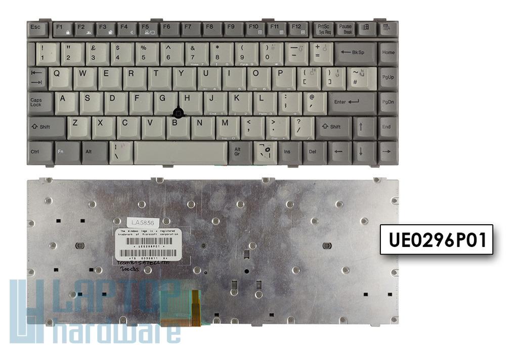 Toshiba Satellite 300CDS, 305CDS, 320CDS használt UK angol szürke laptop billentyűzet (UE0296P01)