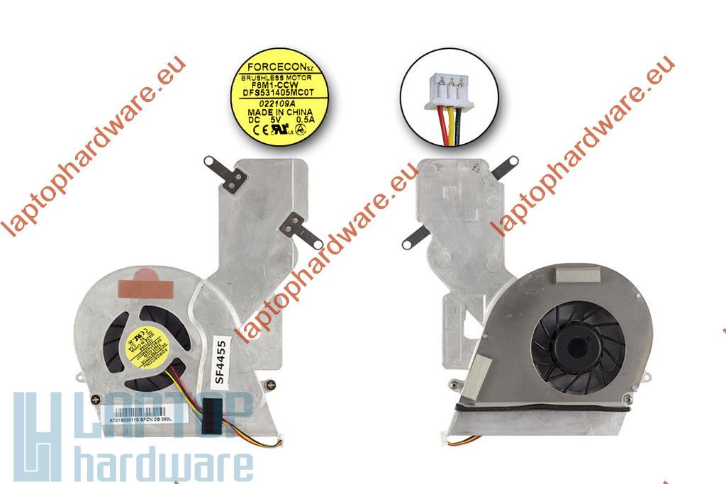 Toshiba Satellite A200, A205, A215 használt hűtő ventilátor egység, AT019000110