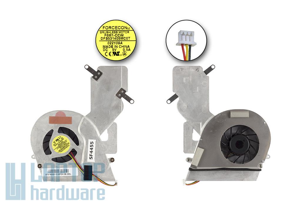 Toshiba Satellite A200, A205, A215 gyári új hűtő ventilátor egység, AT019000110