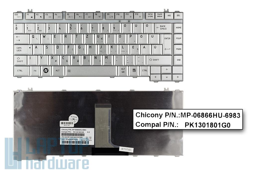 Toshiba Satellite A200, A300, L300 gyári új magyar ezüst laptop billentyűzet (PK1301801G0, K000049580)