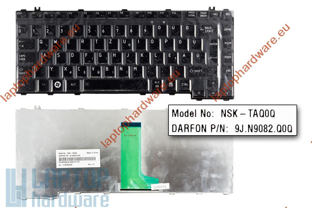 Toshiba Satellite A300, M300, L300 használt magyar fényes fekete laptop billentyűzet (NSK-TAQ0Q)