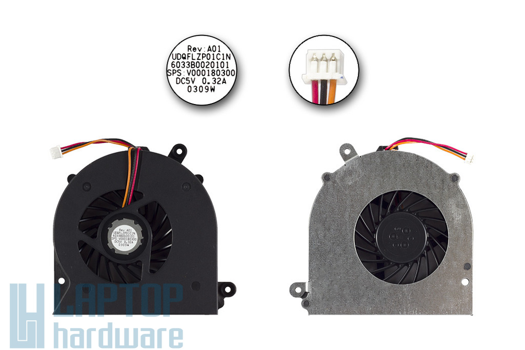 Toshiba Satellite A500, A505, L525 (Intel) gyári új laptop hűtő ventilátor (UDFLZP01C1N)