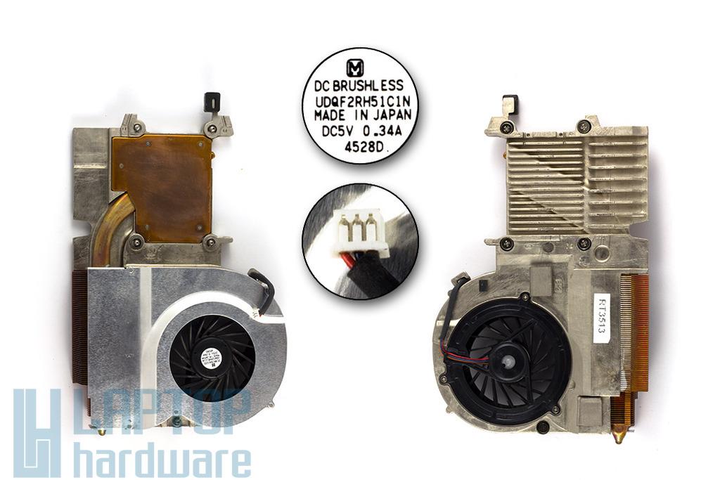 Toshiba Satellite A60, A65 használt komplett laptop hűtő ventilátor egység (V000041850, UDQF2RH51C1N)
