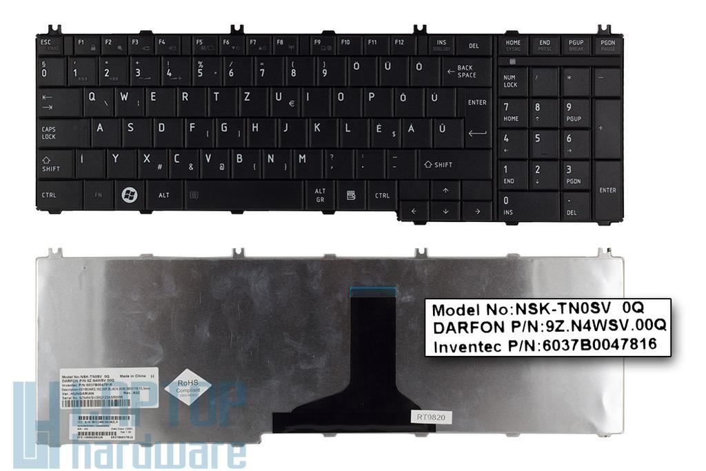 Toshiba Satellite C650, C660, L650, L750 gyári új magyar matt laptop billentyűzet (NSK-TN0SV)