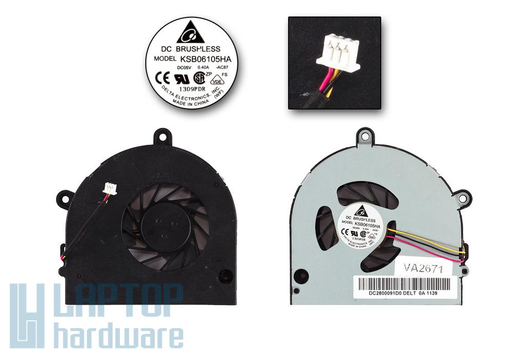 Toshiba Satellite C650, C660, L675, L675D használt laptop hűtő ventilátor (KSB06105HA)