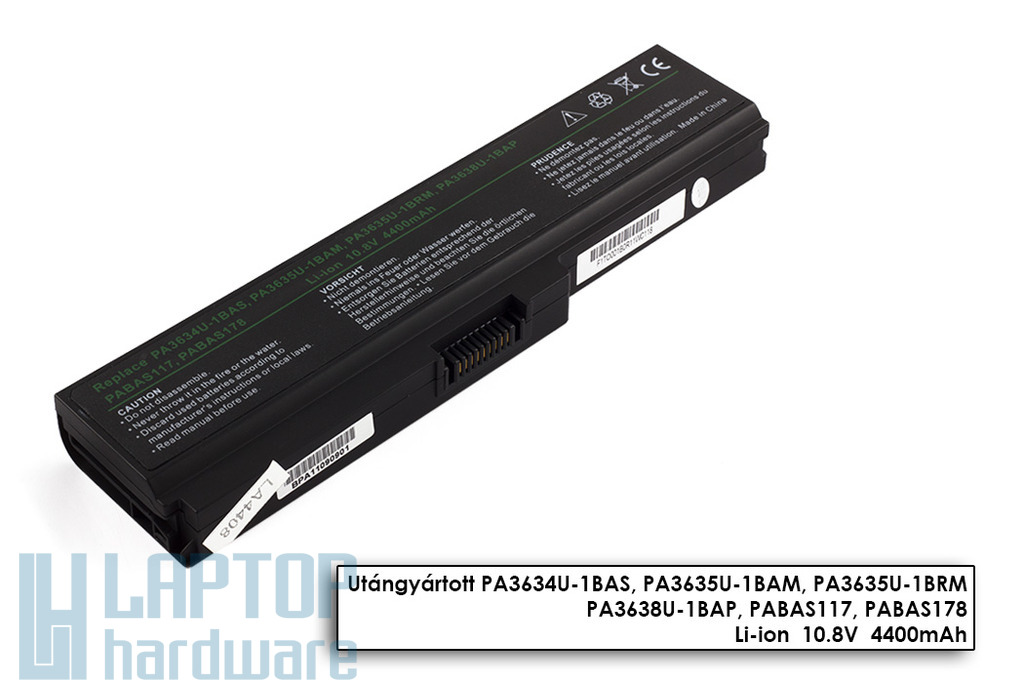Toshiba Satellite C650, L650, L670 helyettesítő laptop akkumulátor, 6 cellás, 4400mAh, 48Wh, PA3634U-1BRS