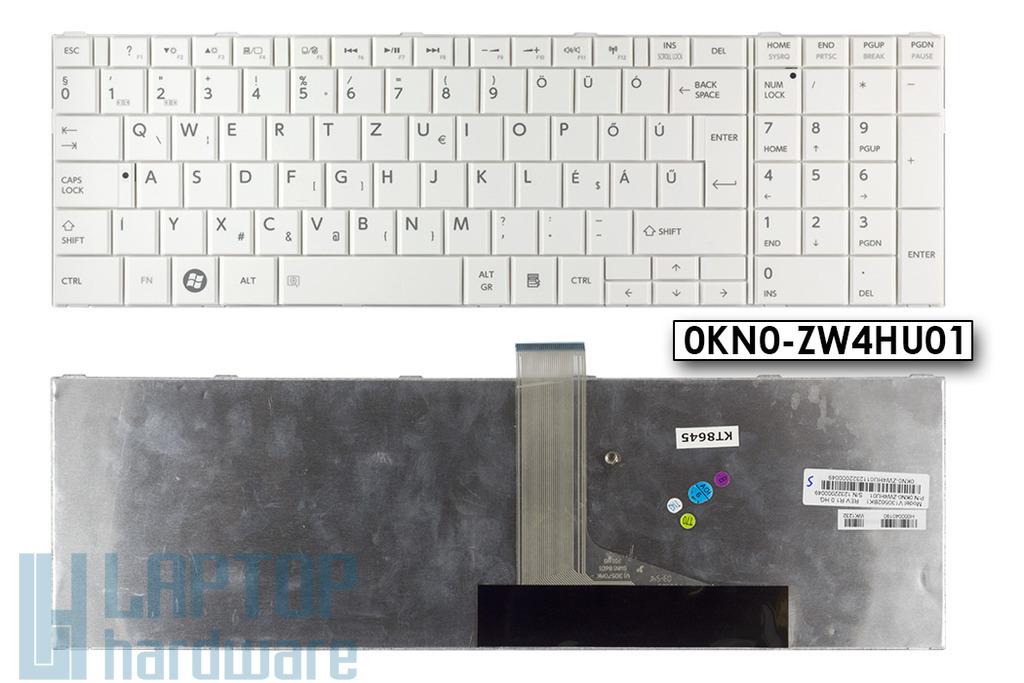 Toshiba Satellite C850, C855, C870, C875 gyári új magyar fehér laptop billentyűzet, (0KN0-ZW4HU01)