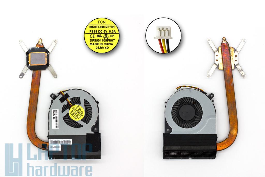 Toshiba Satellite C850, C870, L850, L870 komplett laptop hűtő modul (DFS501105FR0T FB99, H000037340)