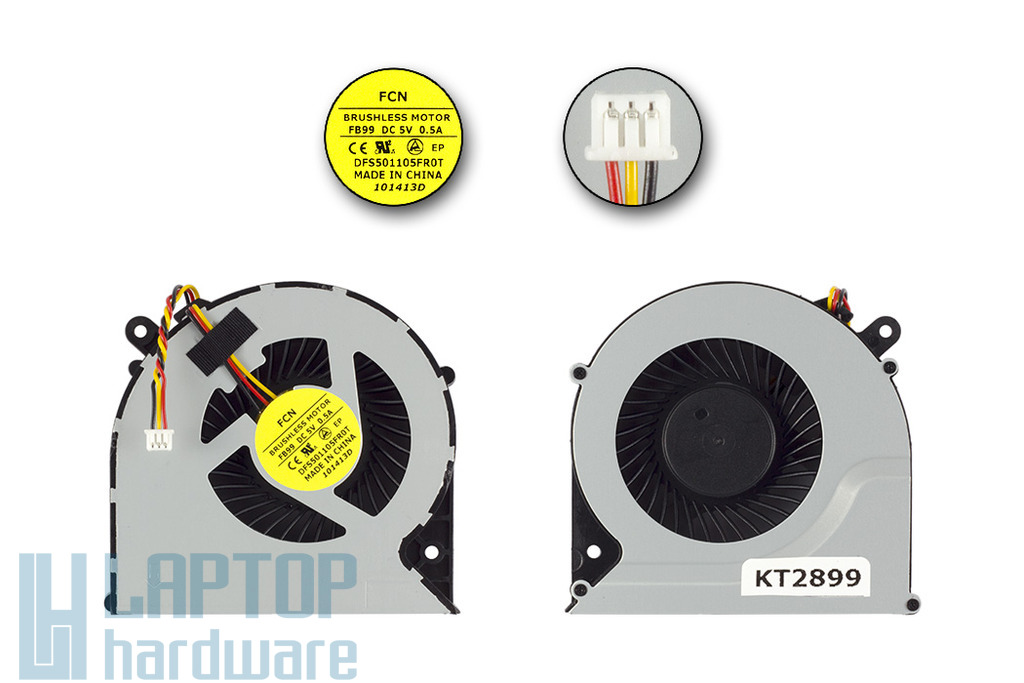 Toshiba Satellite C850, C870, L850, L870 3 pines laptop hűtő ventilátor (DFS501105FR0T FB99)