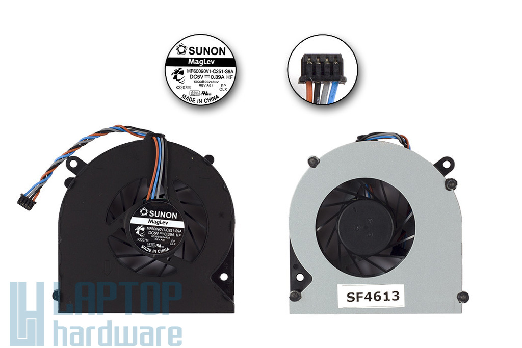 Toshiba Satellite C850, C870, L850, L870 laptop hűtő ventilátor, MF60090V1-C251-S9A